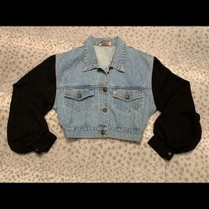 Vintage jean vest with sheer sleeves.